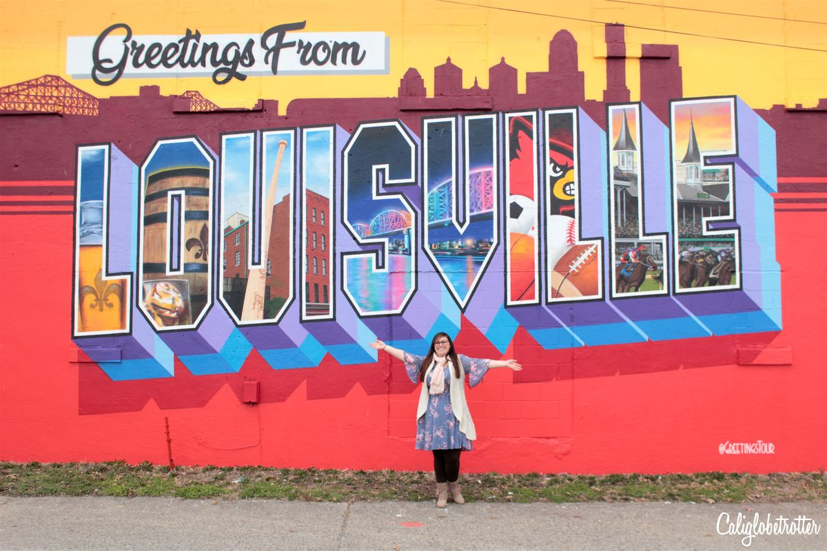 Greetings from Louisville Postcard Mural | Postcard Street Murals | Where to Find Street Art in Louisville, Kentucky | Street Art in Downtown Louisville | Street Art in the Highlands | Street Art in NuLu | Wall Murals in Louisville | Louisville Street Art | Louisville Wall Art | Best Street Art in Kentucky | Street Art in USA | American Street Art | #Louisville #Kentucky #USA - California Globetrotter